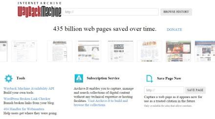Wayback Machine homepage screenshot