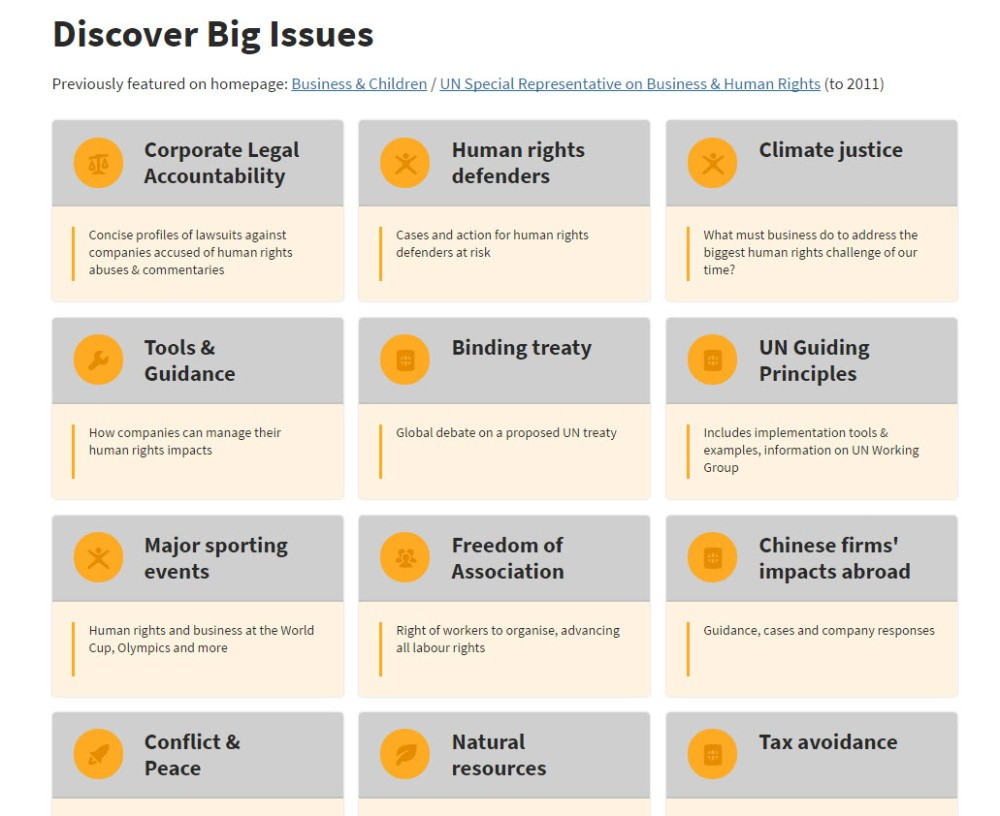 Screenshot of layout of big issues page