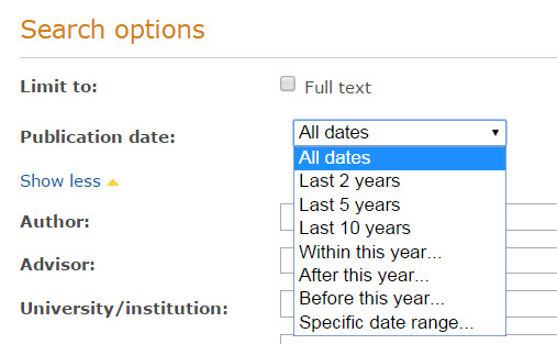 publication date drop-down menu