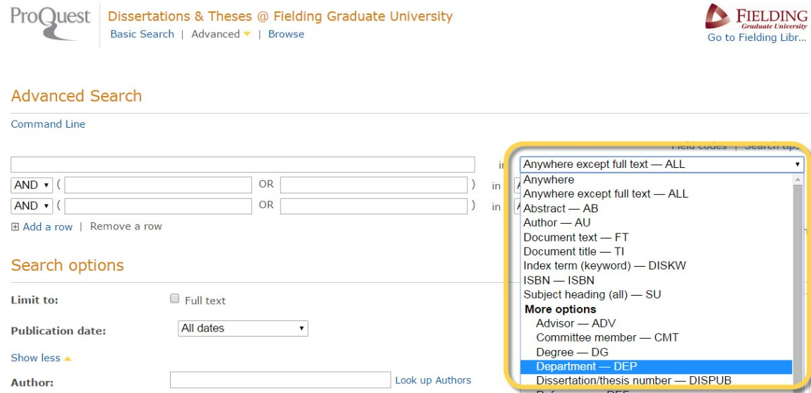 screenshot of searchable fields