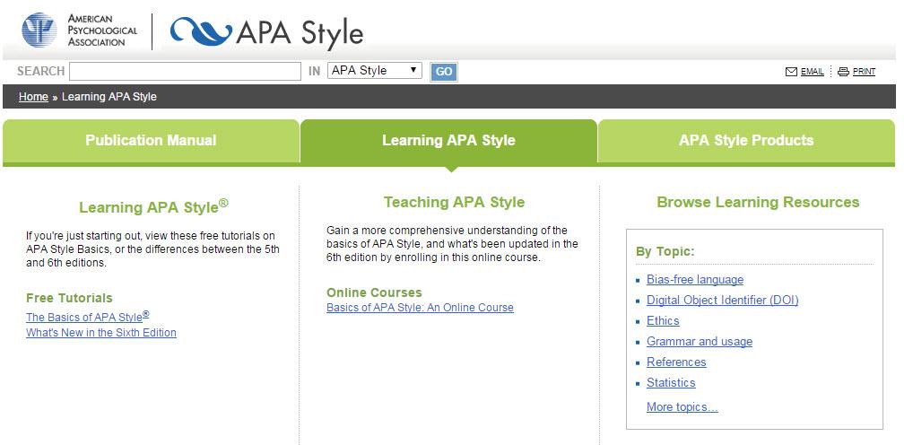 APA style website screenshot