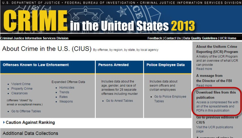 Screenshot of FBI Crime report site