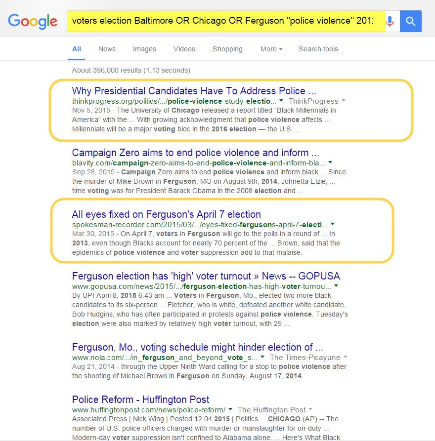 Google advanced search results