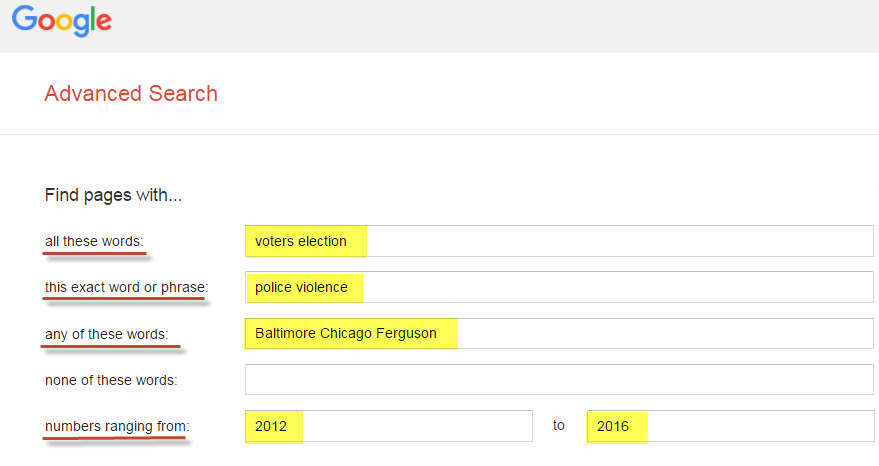 Sample search in Google Advanced