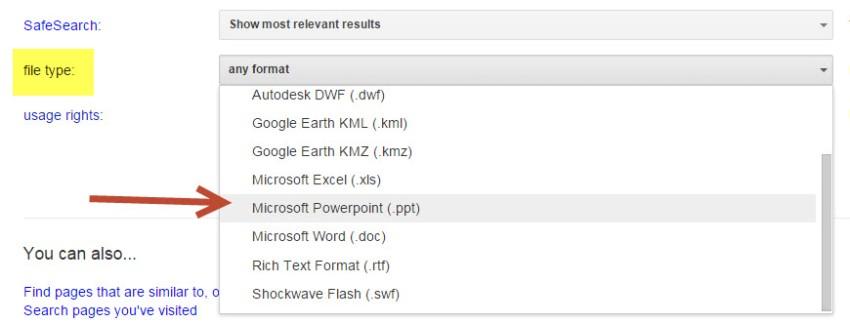 Google file type filter
