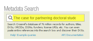 Screenshot of crossref search.