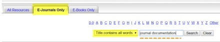 Screenshot of title search.