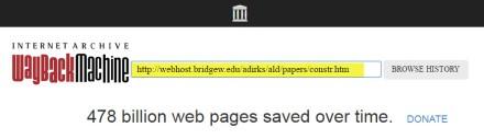 Screenshot of wayback webapge.