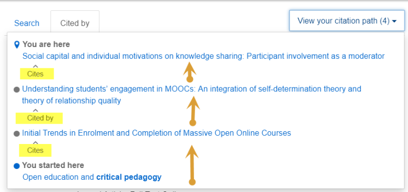 Screenshot of the citation path display