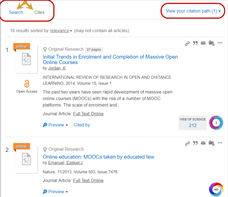 Screenshot of search tab and cites tab on the results page